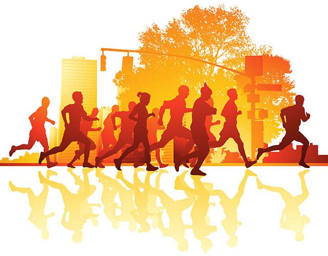 Stilisiertes Bild einer Gruppe laufender Menschen